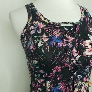 Material Girl Intimates & Sleepwear - Material Girl Lace-Up Floral Racerback Sports Bra